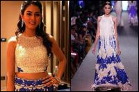 mira rajput manish malhotra blue and white lehenga- bollywoodshaadis