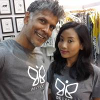 Milind Soman with girlfriend