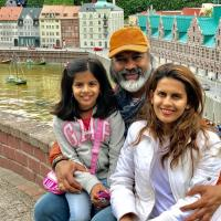 Bijay Anand and Sonali Khare with daughter Sanaya