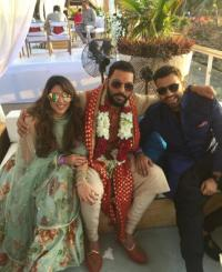 Rohit sharma with wife Ritka and Yuvraj Singh