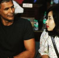 Milind Soman with his girlfriend