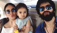 Shahid Kapoor pouting with wife and daughter
