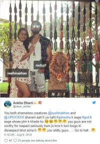 Hina Khan rocky jaiswal trolled for wearing shoes in front of ganesha idol