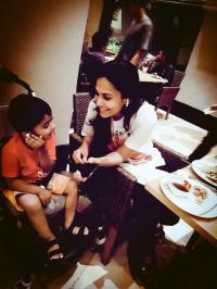 Soundarya Rajinikanth with her son Ved