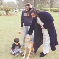 Taimur Ali Khan with his parents at Pataudi Palace