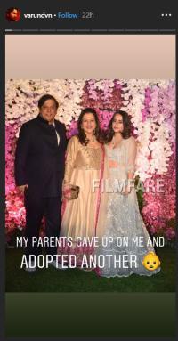 Varun Dhawan Instagram story