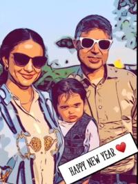 Gul Panag, hubby and son
