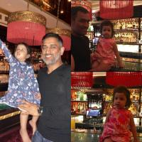 Ziva Singh Dhoni with daddy M.S. Dhoni