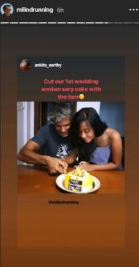 Milind Soman and Ankita Konwar a very happy one-year anniversary