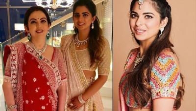 Isha Ambani Twins In Traditional Gujarati Outfit With Nita Ambani On Pre-Wedding Dandiya Ceremony