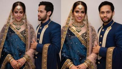 Saina Nehwal And Parupalli Kashyap Twin In Blue At Their Reception, Wears Authentic Pearl Jewellery