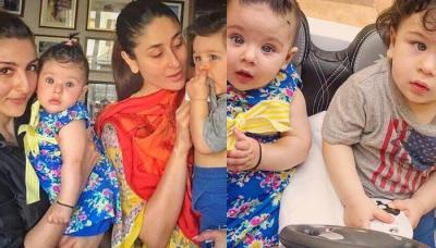 Cousins Taimur And Inaaya Enjoying Carpooling; Soha And Kareena First Picture Together As Mommies