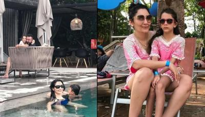 Sanjay Dutt Is On A Vacation With Family, Maanayata Dutt Twins With Her Daughter Iqra Dutt