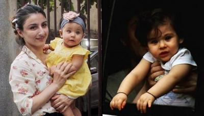 Soha Ali Khan Cuddles Ten-Month-Old Inaaya Naumi Kemmu Close To Her Heart As They Go Out In City