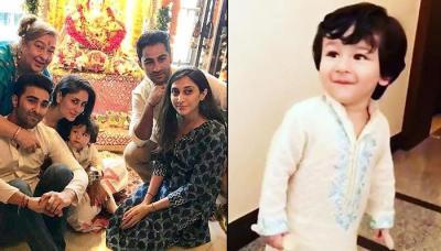 Taimur Ali Khan Celebrates Ganesh Chaturthi With Kareena Kapoor Khan's Family, Steals The Limelight