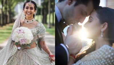 This NRI Bride Created A New Colour Trend By Donning A Tea-Green Sabyasachi Lehenga For Her Wedding