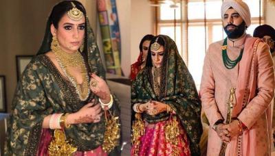Sabyasachi Bride Glams Up Her Anand Karaj Wedding In A Bi-Coloured Benarasi Lehenga-Choli