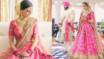 This Bride Wore A Pink Sabyasachi Lehenga With Matching Pink Chooda For Her Anand Karaj Ceremony
