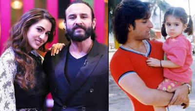 Unseen Childhood Pic Of Sara Ali Khan Helping Abba Saif Ali Khan Shave, His Reaction Is Priceless