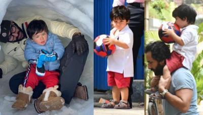Taimur Ali Khan Sitting On Saif Ali Khan's Shoulder Kissing His Football Is Pure Father-Son Love