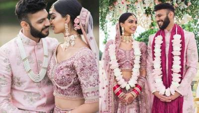 This Bride And Her Groom Wore Matching Blush Pink Ensembles For Their Wedding Day