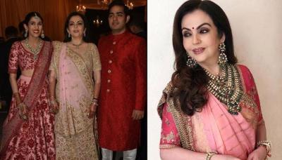 Nita Ambani Glows In Sabyasachi Outfit And Heritage Jewellery At Akash-Shloka's Pre-Wedding Function