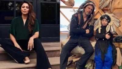 Gauri Khan Shares A Cute Picture Of Shah Rukh Khan And AbRam Khan Posing As Native Americans