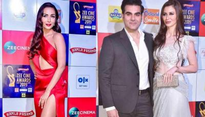 Malaika Arora Hugs Her Ex-Husband, Arbaaz Khan And His Love, Giorgia Andriani At Zee Cine Awards