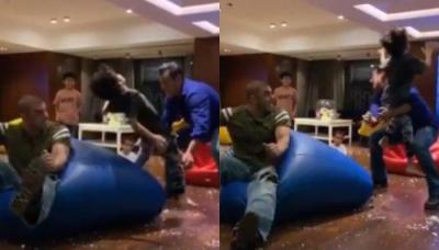 Salman Khan Has A Gala Time Playing On Bean Bags With Nephews At Sohail Khan's Son's Birthday
