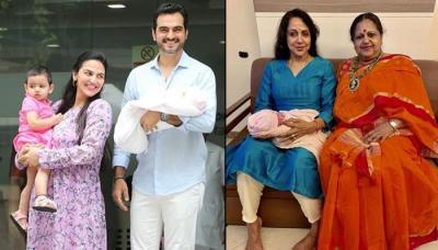 Unseen Pictures Of Esha Deol's Newborn Daughter, Miraya With Her Naani Hema Malini And Sister Radhya