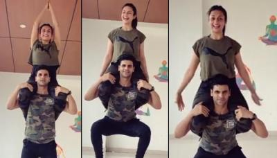 Vivek Dahiya Attempts Squats Carrying Divyanka Tripathi On His Shoulders, Gives Couple Fitness Goals