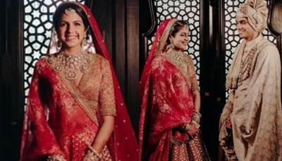 This Bride Shows Off Her 'Rajputana' Style In A Gorgeous Red Sabyasachi Lehenga With Jaal Embroidery