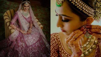 Falguni Shane Peacock Bride Wore A 3D Magenta 'Lehenga', Flaunted Smokey Eyes On Her Wedding