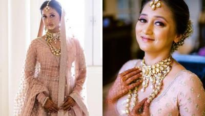 Sabyasachi Bride Stuns In A Blush Pink 'Lehenga' With Heavy 'Polki' Jewellery For Her Wedding