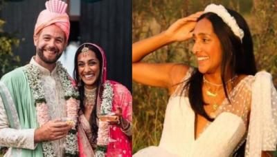 Bride Switched From An Ombre Pink 'Lehenga' To A Gorgeous White Dress For Her Anglo-Indian Wedding