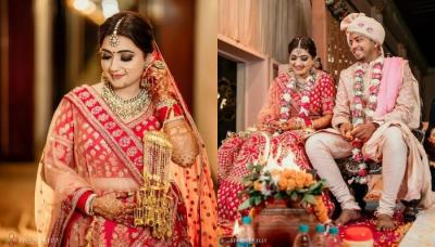 This Bride Donned A Heavily Embroidered Red 'Lehenga' On Her Wedding With The Comedian, Aakash Gupta