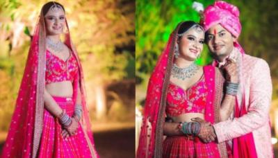 This Bride Flaunted Unique Diamond Jewellery With Her Magenta Sabyasachi Lehenga Worth Rs 4 Lakhs
