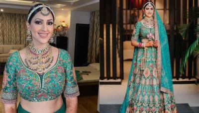 Sabyasachi Bride Wore A Fully Embroidered Sea-Green 'Lehenga' Breaking Barriers Of The Red Look