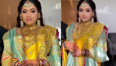 Bride Wore A Gorgeous Yellow-Hued Nauvari Saree For Her Wedding Day With Unique Statement Jewellery