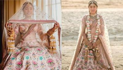 A Designer Bride Wore A Pink Sabysachi 'Lehenga' With Rajasthani Jewellery For Her Beach Wedding
