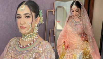 Bride Made A Unique Statement By Wearing A Pastel-Coloured Unicorn Lehenga For Her Srinagar Wedding