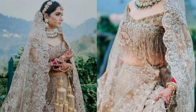 Bride Channelised Her Inner Royalness With A Sispatti That Enhanced Her Whole Champagne-Hued Attire