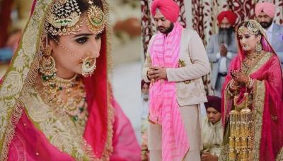 Sikh Bride Wore A Green And Pink-Hued 'Salwar Suit' With 'Parandi' Hairstyle For Her Wedding Day