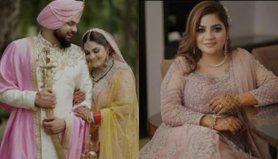 Punjabi Bride Wears Baby Pink 'Lehenga', Sporting A Double 'Kaleera' Look For Her Wedding