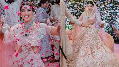 This Manish Malhotra Bride Wore A Baby Pink Crystal 'Lehenga' With Diamond Jewellery On Her Wedding