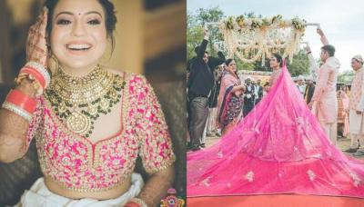 The Bride Who Wore A 'Rani Pink' Lehenga With The Longest Dupatta For Her Wedding