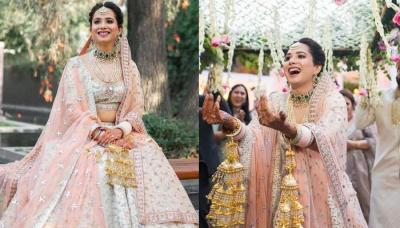 Bride Dons A Unique Chooda Matching With Her Pastel Lehenga, Dances Her Heart Out On Bridal Entry