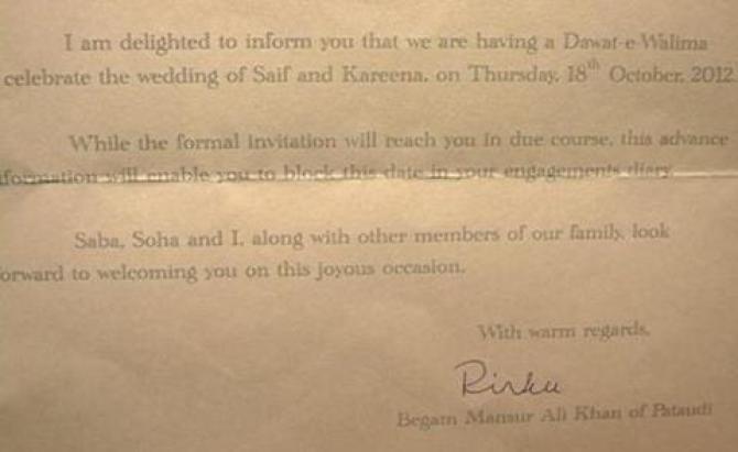 Kareena and Saif Wedding Invitation Card Revealed – Walima Invitation Card