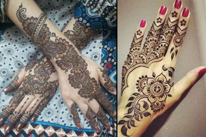 popular mehendi designs for karva chauth floral