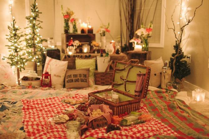 Romantic picnic indoors